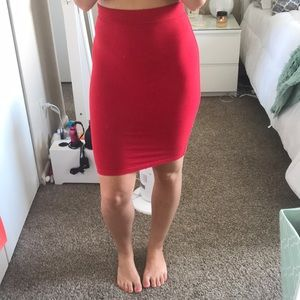 Red pencil skirt small